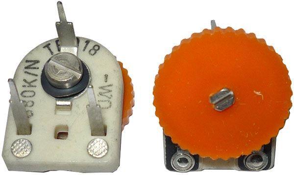 100k - TP018, trimr uhlíkový keramický ležatý RM10x12,5mm