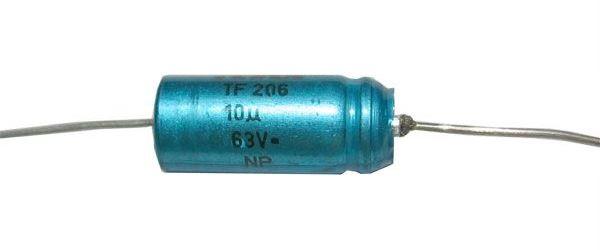 10u/63V TF206, elektrolyt. kondenzátor bipolární