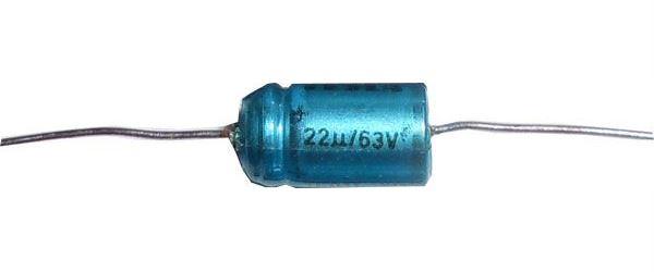 22uF/63V TF011, elektrolyt.kondenzátor axiální