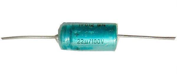 22uF/100V TF012, elektrolyt.kondenzátor axiální
