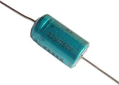 22uF/160V TF013, elektrolyt.kondenzátor axiální