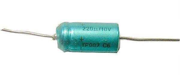 220u/10V TF007, elektrolyt.kondenzátor axiální