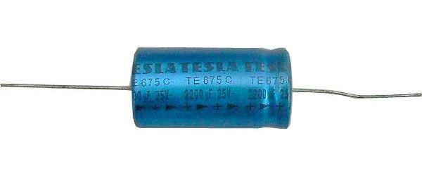 2200u/16V TE674B 40x22mm, elektrolyt.kondenzátor axiální