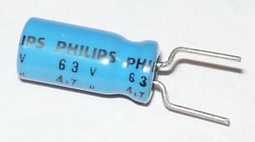 4u7/63V 85°C PHILIPS, 5x11mm, elektrolyt.kondenzátor radiální