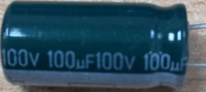 100u/100V 85° 10x21x5mm, elektrolyt.kondenzátor radiální