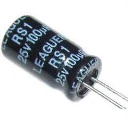 100u/25V 85° 6x11x2,5mm, elektrolyt.kondemzátor radiální