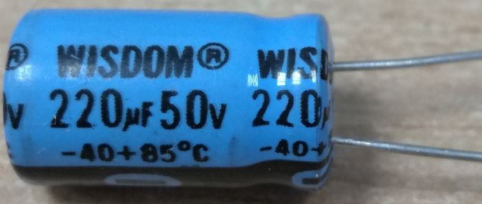 220u/50V 85° 10x18x5mm, elektrolyt.kondenzátor radiální
