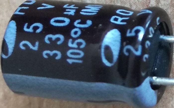 330u/25V 105° 8x15mm, low ESR elektrolyt.kond. radiální NIPPON KY