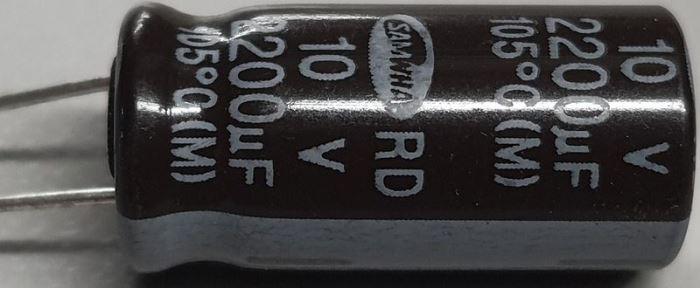 2200u/10V 85° 10x20x5,5mm, elektrolyt.kondenzátor radiální