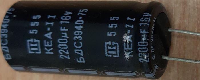 2200u/16V 85° 18x38x7,5mm, elektrolyt. kondenzátor radiální