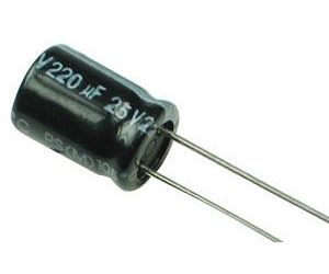 220u/25V 105° 8x12x5mm, elektrolyt.kondenzátor radiální