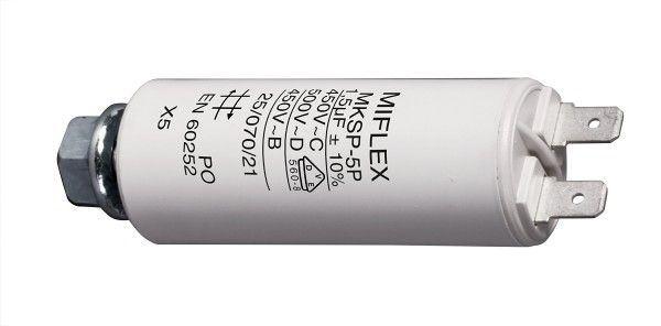 1,5uF/450V motorový kondenzátor MKSP-5P s fastony, 25x58mm
