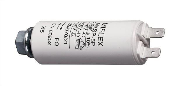 2,5uF/450V motorový kondenzátor MKSP-5P s fastony, 25x58mm