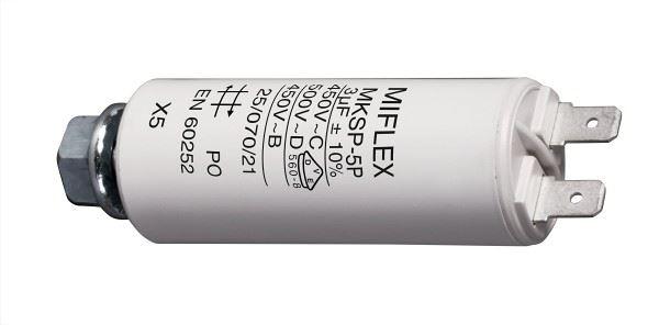 3uF/450V motorový kondenzátor MKSP-5P s fastony, 25x62mm
