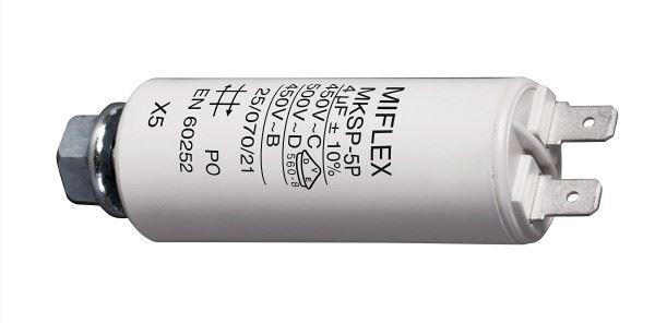 4uF/450V motorový kondenzátor MKSP-5P s fastony, 25x58mm