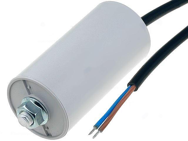 8uF/450V motorový kondenzátor MKSP-5P s kabelem, 35x65mm