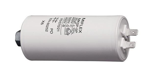 20uF/450V motorový kondenzátor MKSP-5P - fastony, 45x83mm