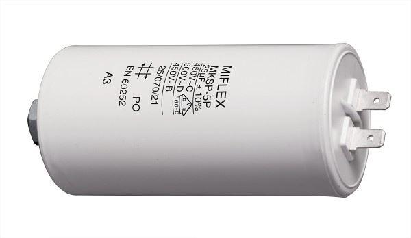 25uF/450V motorový kondenzátor MKSP-5P - fastony, 45x83mm