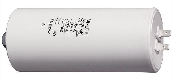 70uF/450V motorový kondenzátor MKSP-5P - fastony, 55x119mm