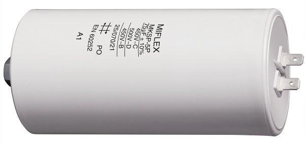 75uF/450V motorový kondenzátor MKSP-5P - fastony, 60x119mm