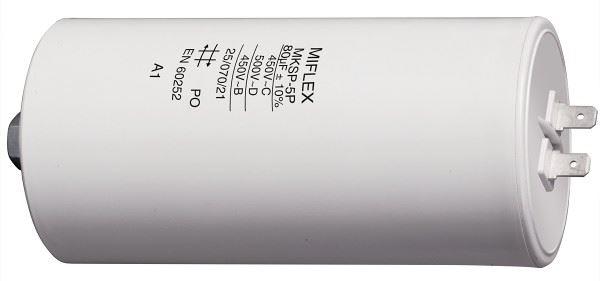 80uF/450V motorový kondenzátor MKSP-5P - fastony, 60x119mm