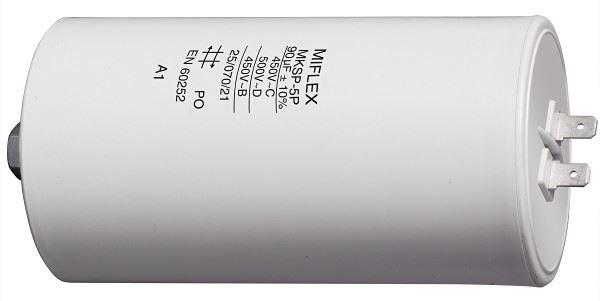 90uF/450V motorový kondenzátor MKSP-5P - fastony, 65x119mm