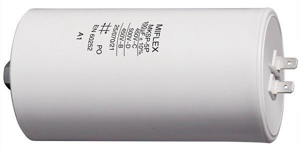 100uF/450V motorový kondenzátor MKSP-5P - fastony, 65x119mm