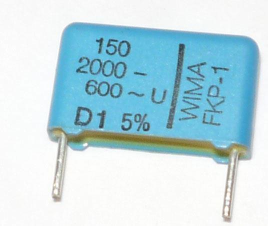 150pF/2000V WIMA, svitkový kondenzátor, RM=16mm