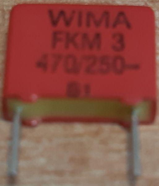 470pF/250V WIMA, RM=7,5mm, svitkový kondenzátor