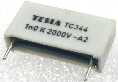 1n/2000V TC344, svitkový kondenzátor impulsní, RM=22mm