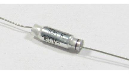 10n/160V C242, svitkový kondenzátor axiální, l=15mm