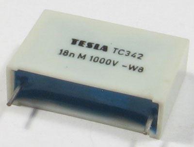 18n/1000V TC342, svitkový kondenzátor impusní, RM=22mm