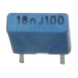 18n/100V TC351, svitkový kondenzátor radiální, RM=5mm