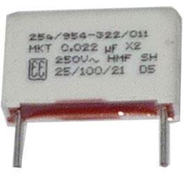 22n/250V MKT, svitkový kondenzátor radiální, RM=15mm