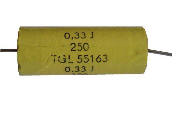330n/250V TGL55163, svitkový kondenzátor axiální, pr. 12x31mm