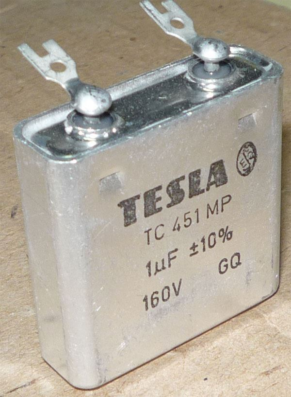 1u/160V TC451, svitkový kondenzátor krabicový