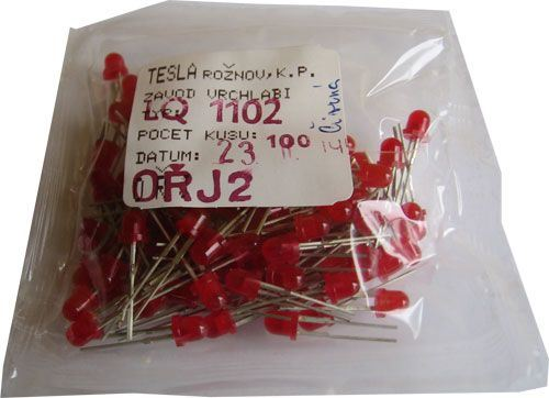 LED 4mm červená difuzní LQ1102, balení 100ks