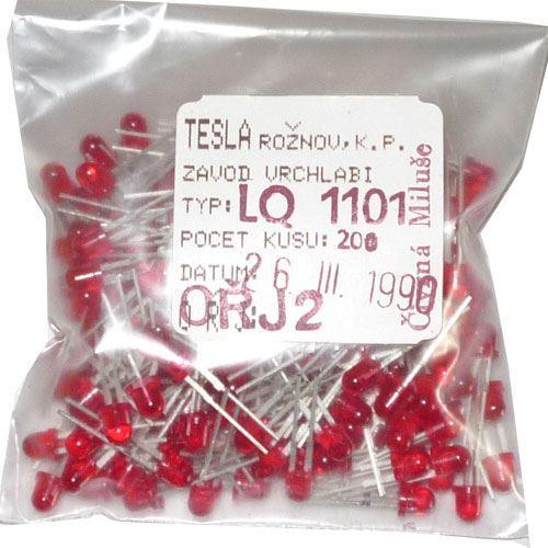 LED 4mm červená transparentní LQ1101, balení 200ks