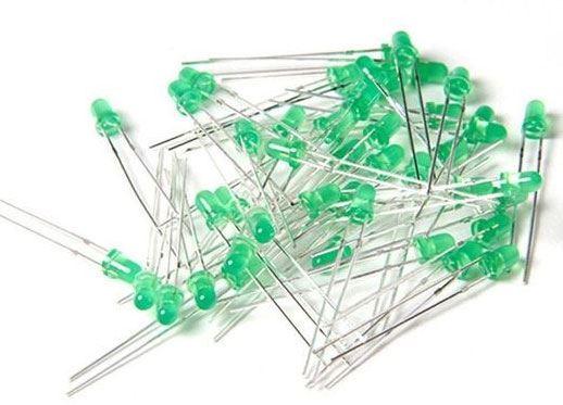 LED 3mm zelená difuzní, balení 100ks
