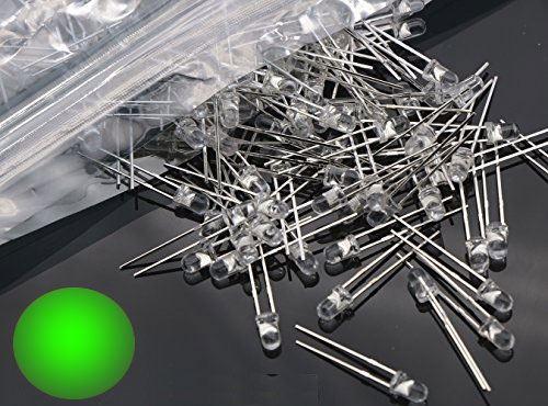 LED 3mm zelená čirá, balení 100ks