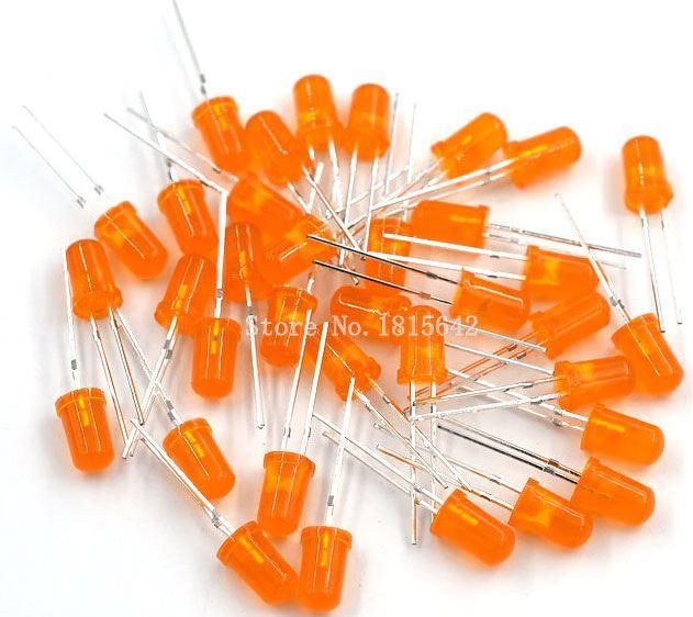 LED 5mm oranžová difuzní, balení 100ks