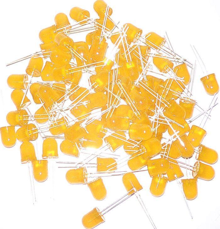 LED 10mm žlutá difuzní, balení 100ks