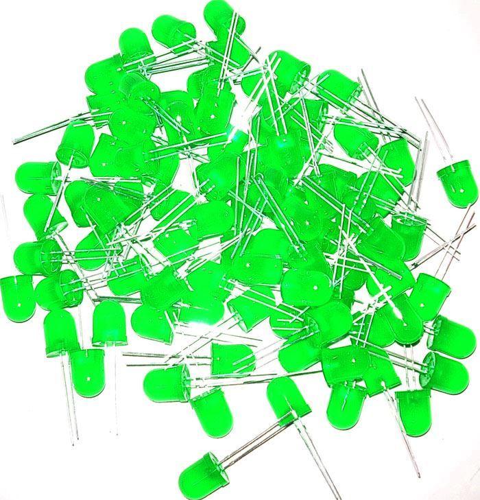 LED 10mm zelená difuzní, balení 100ks