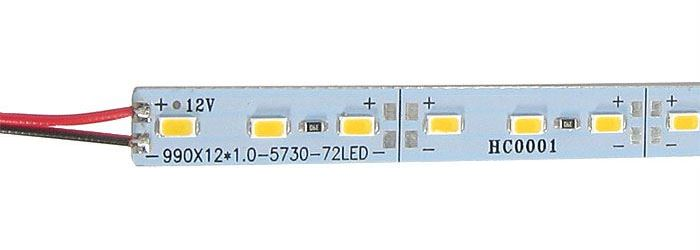 LED pásek 12mm hliníkový, bílý, 72x LED5730/m, IP20, délka 1m