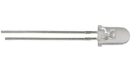 LED 5mm bílá teplá čirá 40Cd/30mA 15° 3,3V