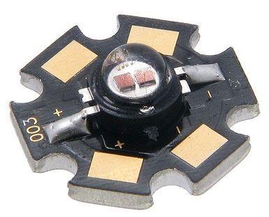 LED 3W červená, 77lm/800mA, 120°