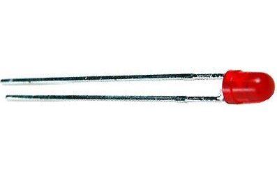 LED 3mm červená 2mA 2mCd 650nm 35° nízkopříkonová difůzní
