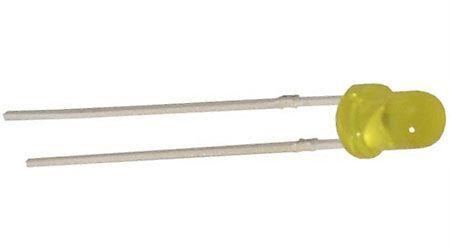 LED 3mm žlutá 2mA 2,5mCd 585nm 35° nízkopříkonová difuzní