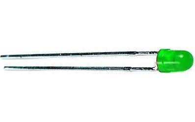 LED 3mm zelená rozptyl.50mCd/20mA 565nm 50°