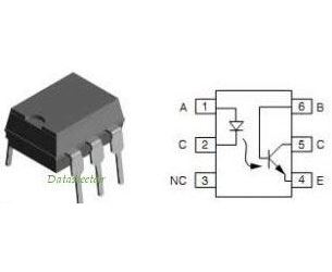 4N26 - optočlen s tranzistorem, 5kV CTR )20%, DIP6